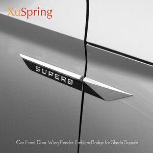 Image 1 - Car Original Side Wing Fender Door Emblem Badge Sticker Trim For Skoda Superb 2015 2016 2017 2018 2019 Car Styling