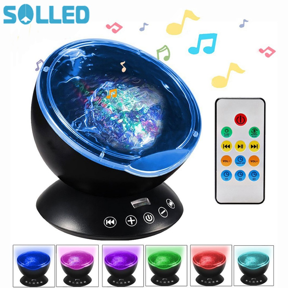 Ocean Wave Starry Sky Aurora LED Night Light Projector Luminaria Novelty Lamp USB Lamp Nightlight Illusion For Baby Children novelty touchable multicolor sandglass led night light for children sleep nightlight table lamp