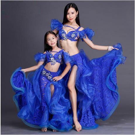 Swarovski Adult/kids performance belly dance set top and skirt ballroom dancer senior lace split skirt and crystal bra