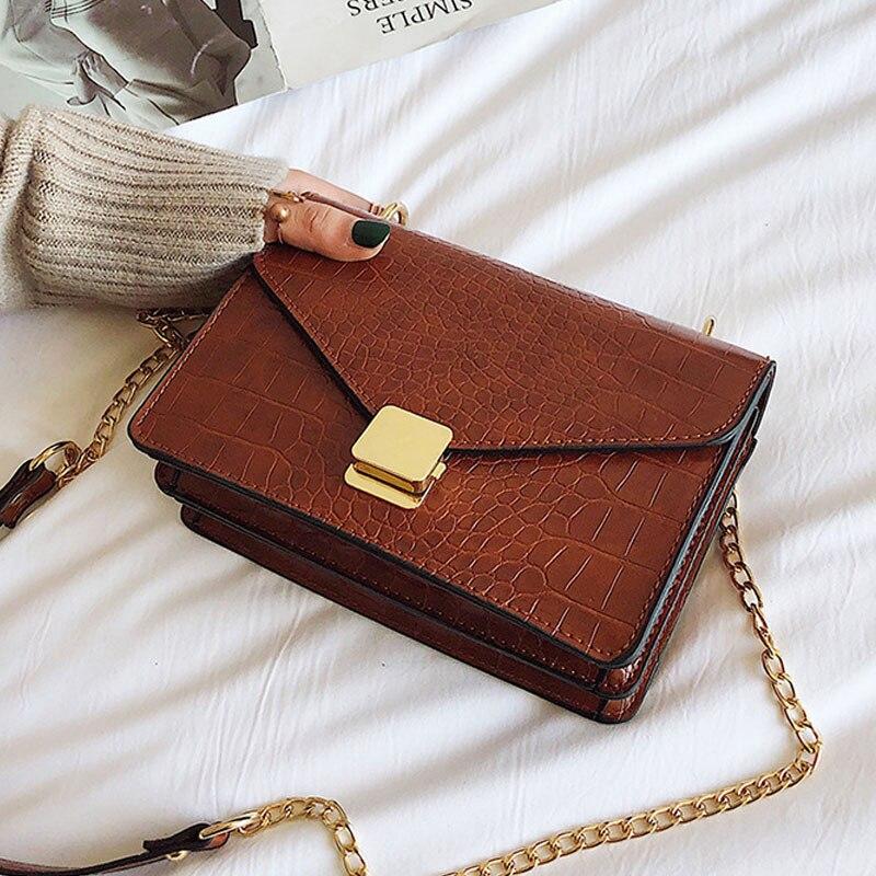 Aktiv Vintage Krokodil Muster Messenger Umhängetaschen Für Frauen Handtaschen Kette Designer Mode Kupplung Schulter Taschen Weibliche Klappe GroßEr Ausverkauf