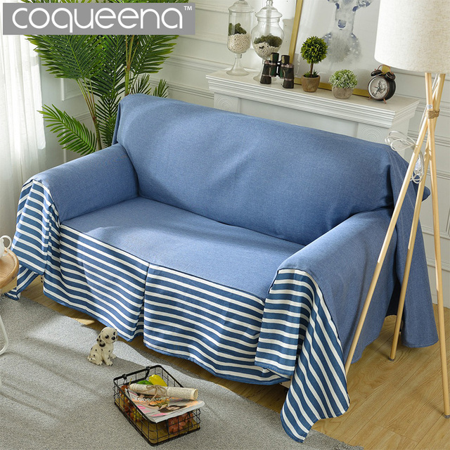 Modern Sofa Covers Striped Blue Cloak Bedspreads for Sofa Couch ...