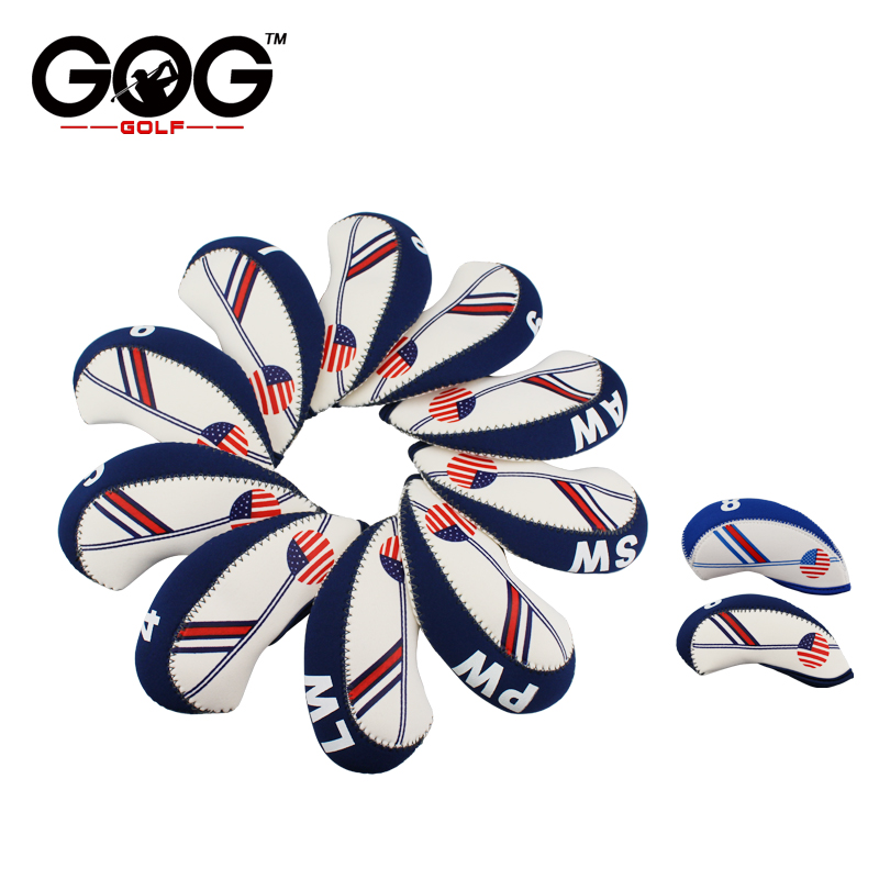 10pcs Neoprene Golf Club Iron Head Cover Set White With Blue US Flag Headcovers Onesize Fit All Irons Clubs White blue/dark blue soft neoprene golf club iron putter head cover set black 11 piece