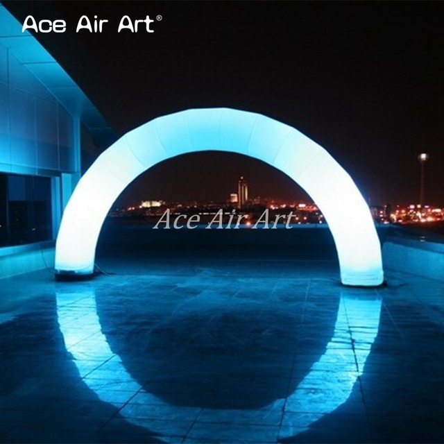 Creative Beautiful White Led Light Up Inflatable Balloon Archway For Decor