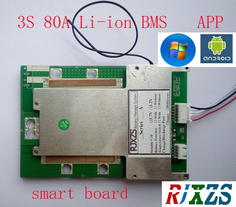 Accessories & Parts Honest 3s 40a/60a/80a Smart Board Lipo Lithium Polymer Bms/pcm/pcb Battery Protection Board For 3 Packs 18650 Battery W/balance W/app Available In Various Designs And Specifications For Your Selection Chargers