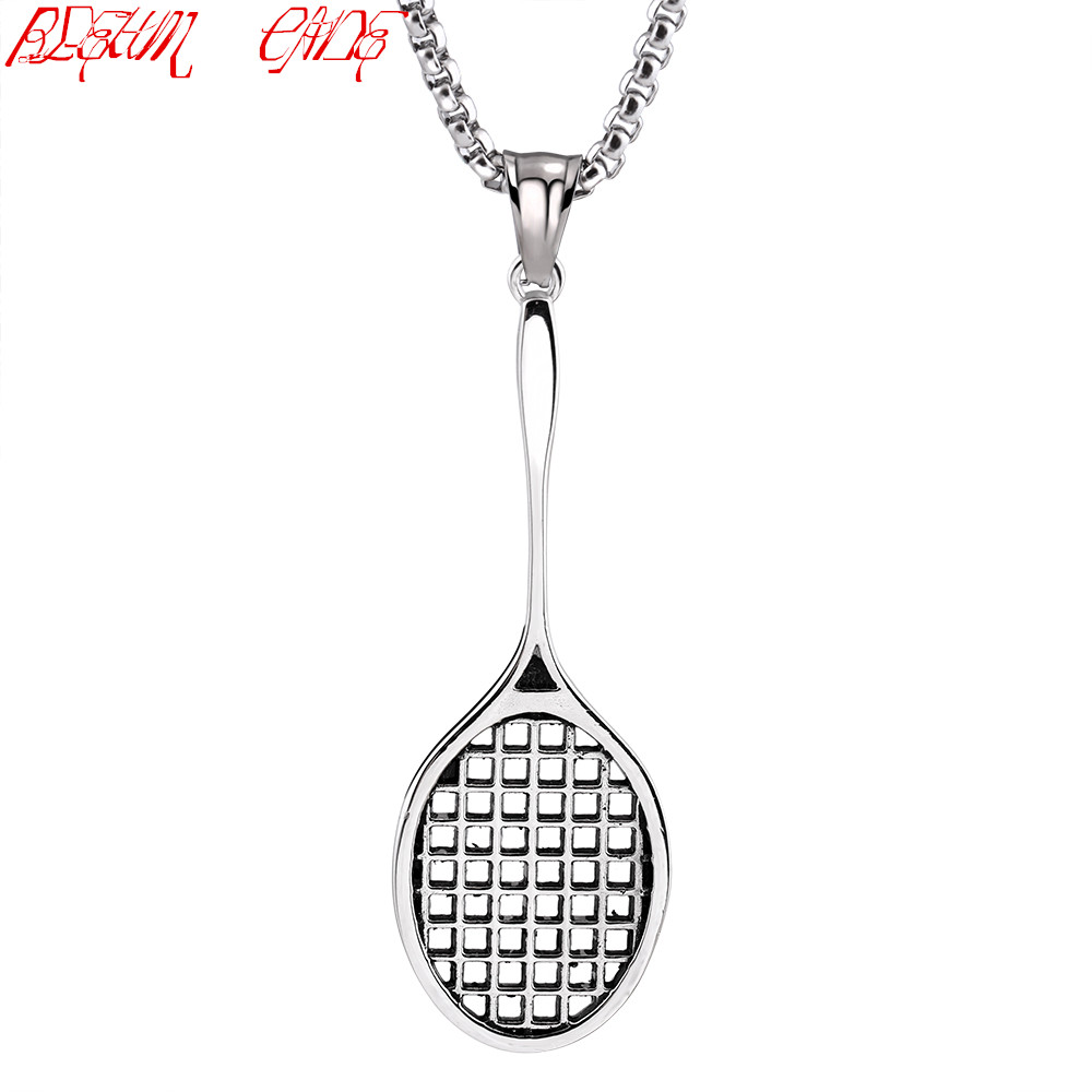 Mens Fitness Titanium stainless steel Casting Fitness Badminton racket necklace Pendant With 24chain