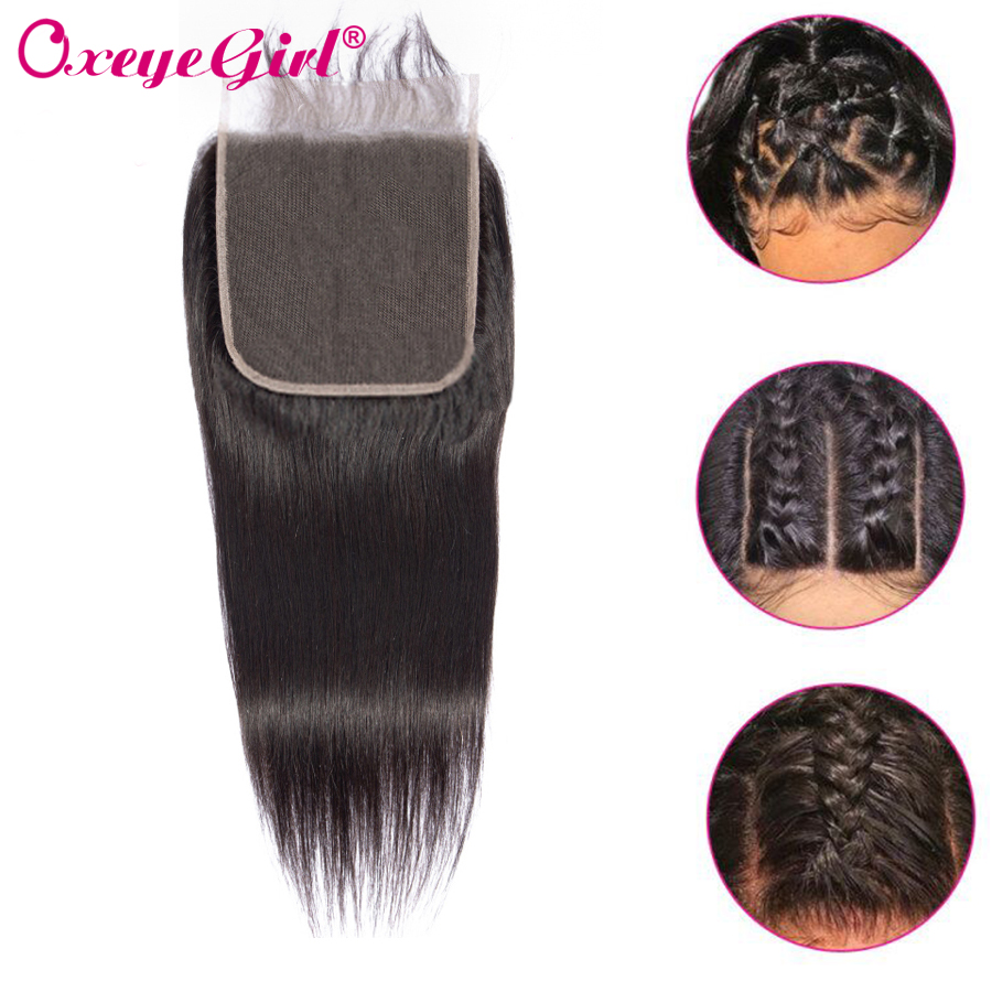 Oxeye girl Brazilian Hair 5x5 Lace Closure Straight Hair Bundles Free Middle Three Part Frontal Closure