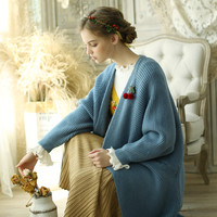 LYNETTE'S CHINOISERIE Spring Autumn Women Loose Oversized Vintage Mori Girls Knitted Sweater