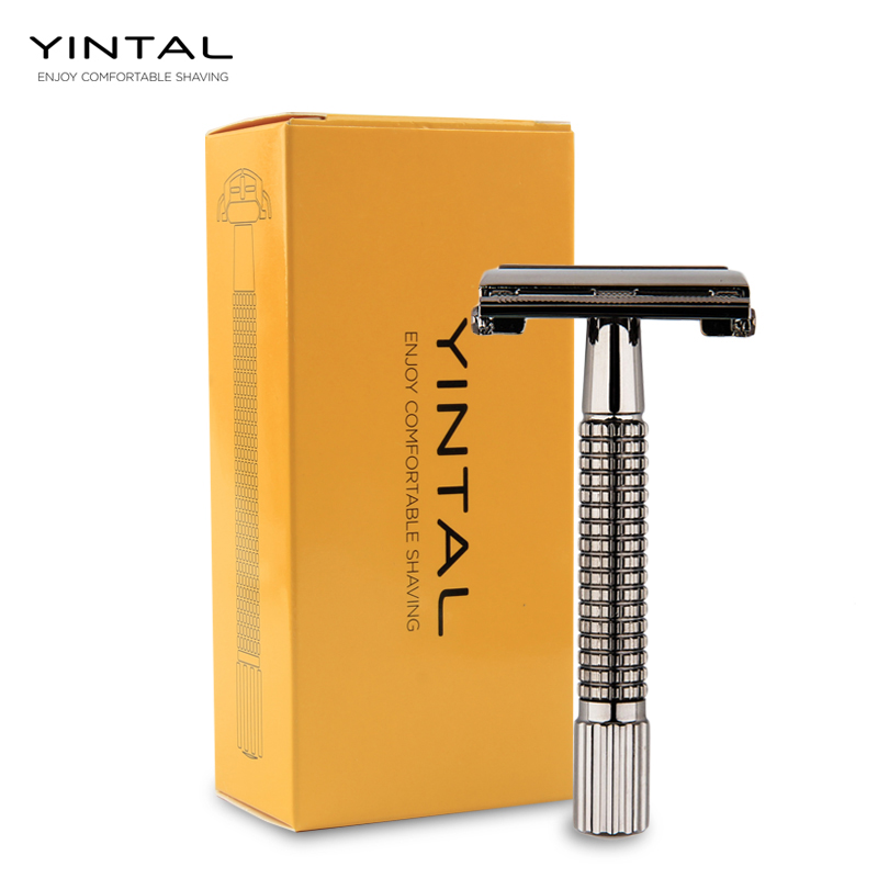 YINTAL Non slip Handle Version Butterfly Open Double Edge Safety Razor Men 39 s Classic Manual Razors 1 Razor 5 Blades in Razor from Beauty amp Health