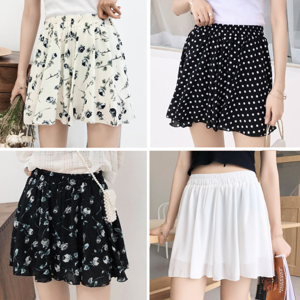 Summer new style Loose printed chiffon culottes Casual large size high waist loose wide leg shorts