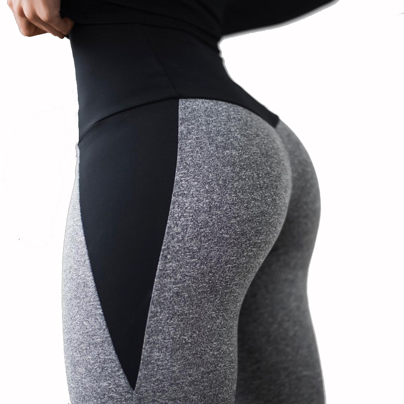 NORMOV Fitness Leggings Patchwork Push-Up Ankle-Length Polyester Sexy High-Waist Women
