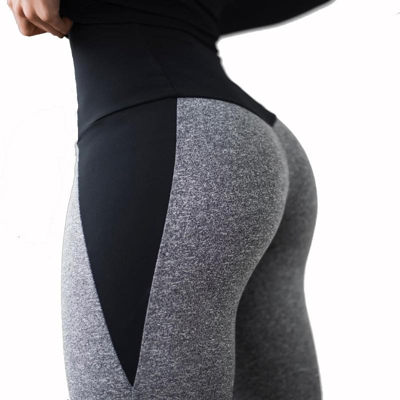 NORMOV Fitness Leggings For Women Sexy High Waist Push Up Female Legging Patchwork Polyester Ankle Length Leggings Feminina