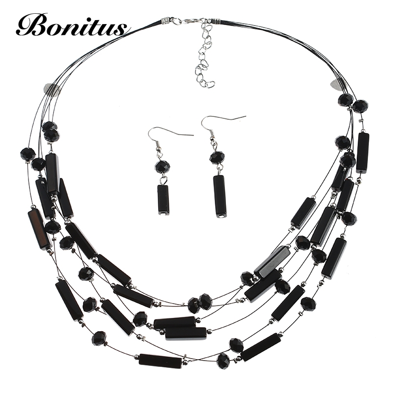 bonitus jewelry store new arrival fashion crystal multilayer glass necklaces for women necklace
