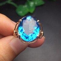 Fine Jewelry настроить Размеры Настоящее 18 К розовое золото AU750 Jewellery 100% натуральный голубой топаз драгоценных камней женские Кольца для Для женщ