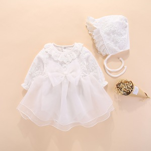 long sleeve baby girls dress princess and wedding baptism kids dresses newborn baby girl clothes pink set with hat lace style(China)