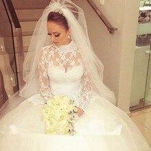 Plus Size Muslim Wedding Dresses With Sheer Long Sleeve Vintage Appliqued Lace Luxury Bride Dresses 2017 Custom Made