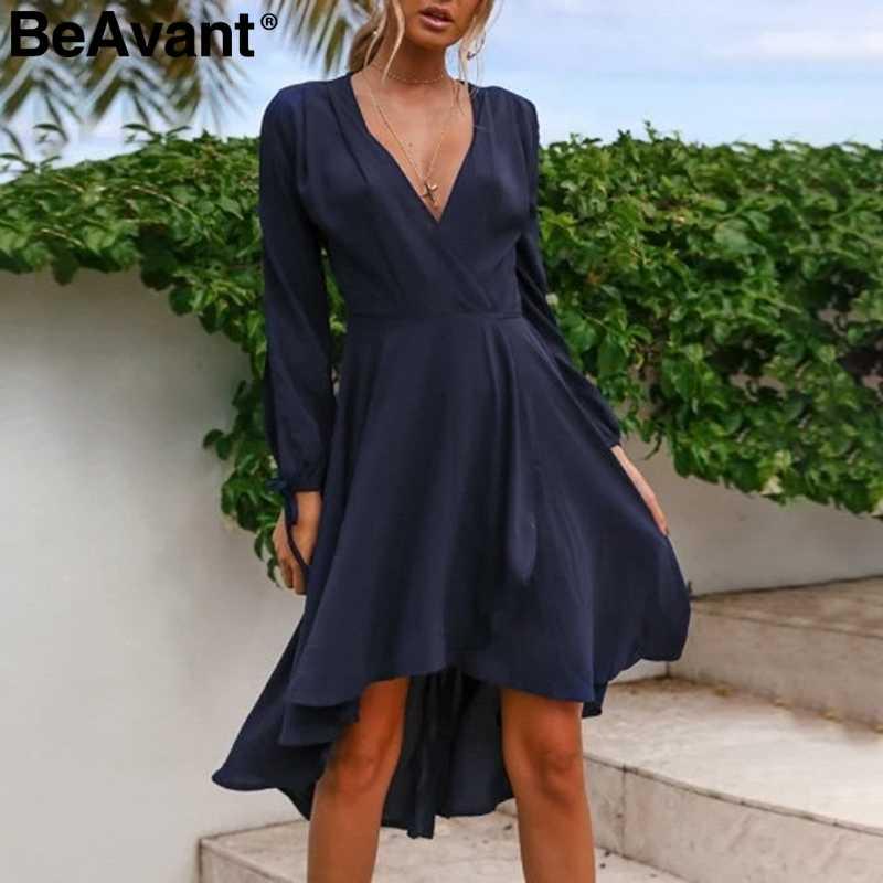 f23cd3a1276 BeAvant Elegant long sleeve women summer dress V-neck asymmetrical red dress  casual High waist