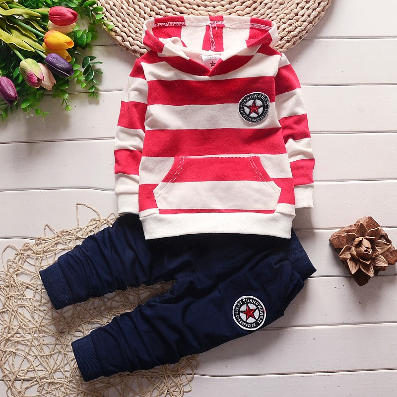 BibiCola boys spring autumn clothing set long sleeve hooded shirt and pants two pieces Striped sweatshirt casual outfit for boy stylish long sleeve letter print tassel design sweatshirt pants twinset for boys