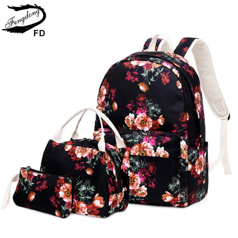 FengDong Girls Flower School Backpack Kids School Bag Set Chinese Style Pen Pencil Bag Floral Backpacks For Children Bookbag