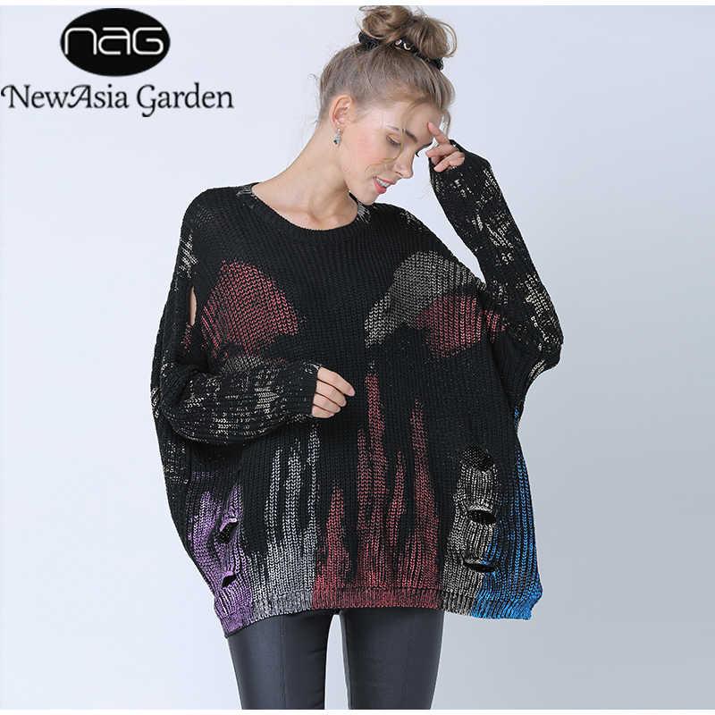 Newasia 2019 camisola feminina estampa metálica oversized estilo coreano camisola de manga comprida pulôver casual oco para fora camisola de malha