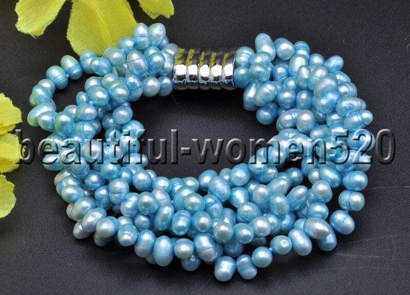Z7558 6Strands 7mm Blue Rice Freshwater Pearl Bracelet 8inch Magnet