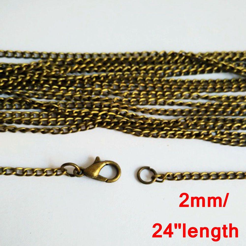 100 pièce lot antique bronze 2mm 24 pouces lien chaîne collier pour pendentif bijoux accessoires CCN010