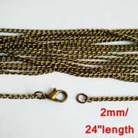 100piece lot antique bronze 2mm 24 inches link curb chain necklace for pendant jewelry accessories CCN010