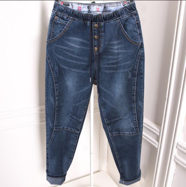 2019 women's harem pants summer new loose large size jeans women was thin 100 kg nine pants tide XL-5XL female Elastic waist