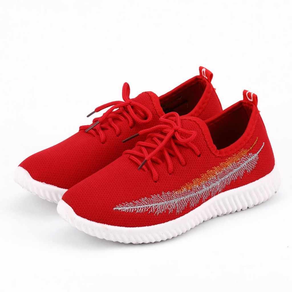 2019 zapatos casuales para mujer, antideslizantes, zapatillas deportivas para caminar, zapatillas de encaje para mujer, zapatos suaves para correr tenis vulcanizar los zapatos