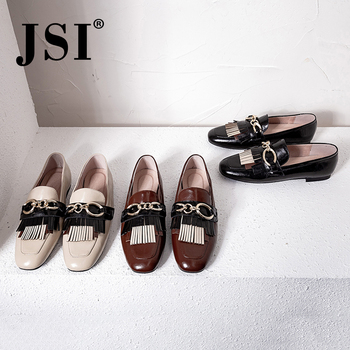 JSI Brand Genuine Leather Lady Flats Elegant Square Toe Slip-on Metal Decoration Shoes Woman Low Heel Casual Wine Red Flats JO18