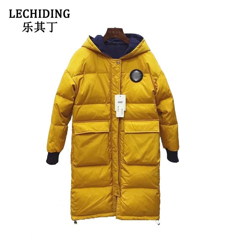 LECHIDING 2017 Women Doubleside Wearable Winter Down Jacket Large Size Ladies Long Duck Down Coats Fashion Warm Hoodies yellow
