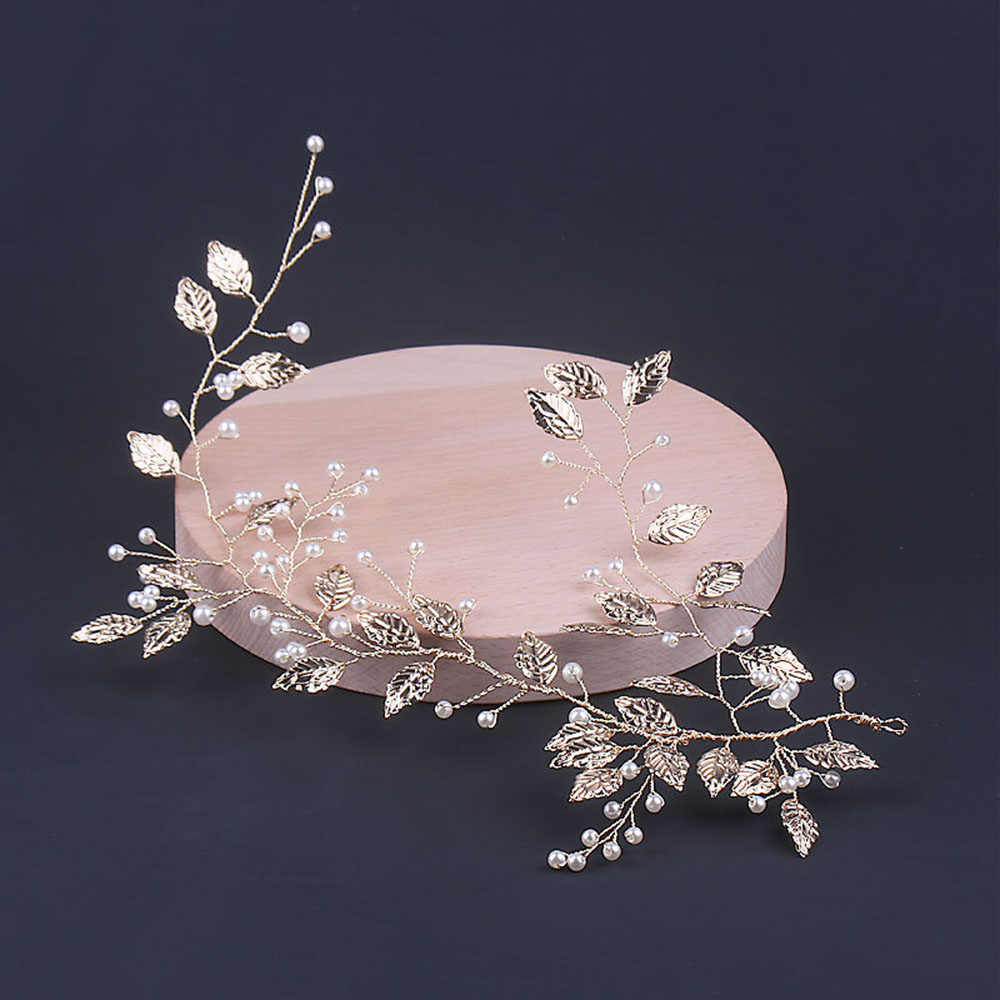 1Pc Bridal Wedding Gold Leaf Branch Pearl Hair Clip Hairpin Tiara Headpiece Hair Styling Tools Hair Accessories