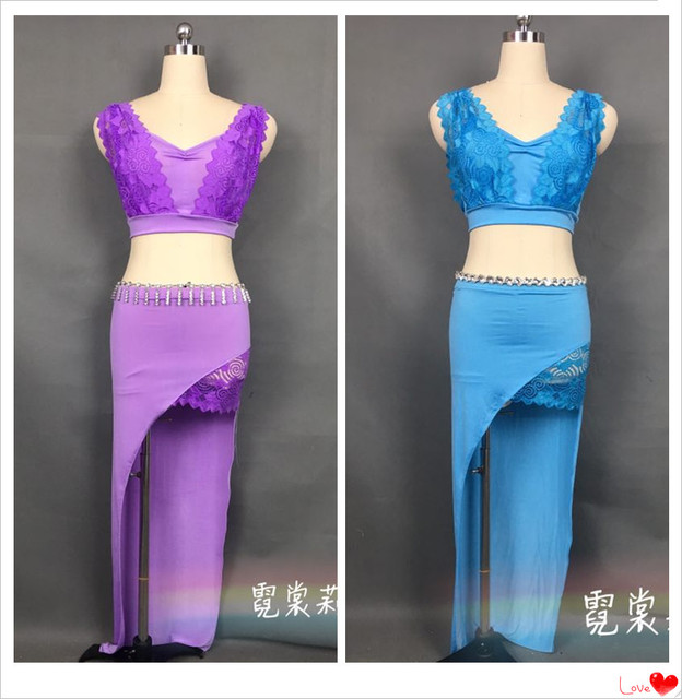 a8e1c5c7f8504 2017 Belly Dance Costume Top+Skirt Oriental Dancing Training Clothing Suit  Womens Girls belly dance Wear