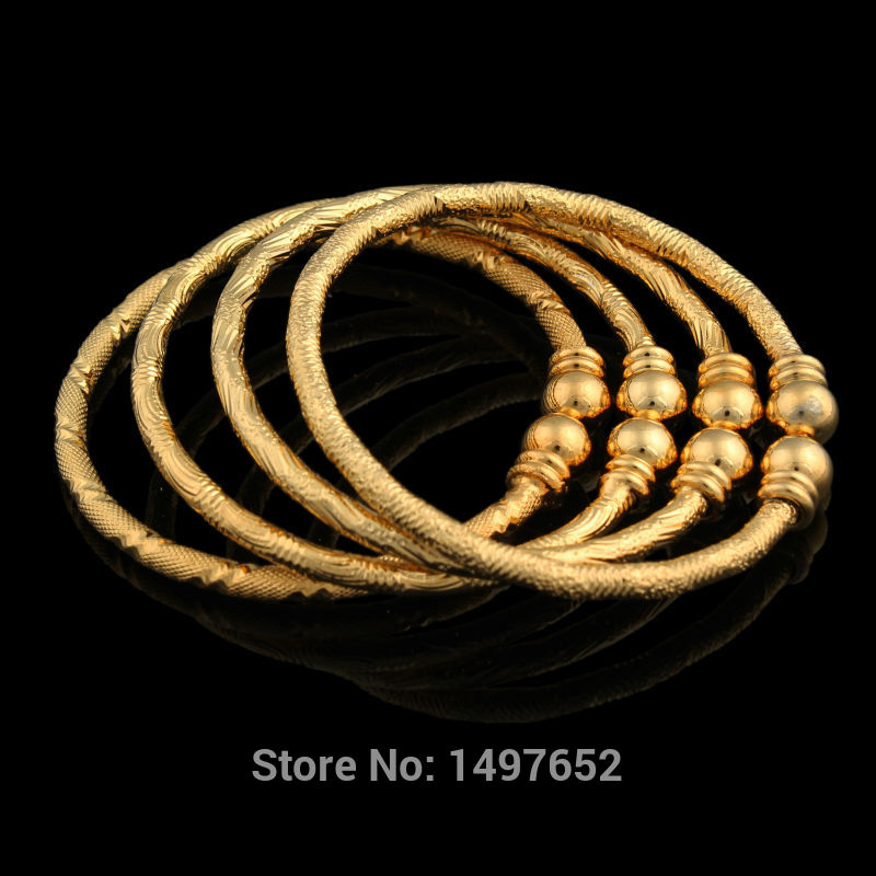 Luxury Dubai Gold Baby Bangle Jewelry For Boys Girls18K Gold Color