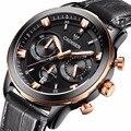 2016 Novos Homens de Relógios de luxo Dos Homens Do Cronógrafo Relógio Do Esporte Dos Homens de Couro Genuíno relógio de Pulso de Quartzo relogio masculino