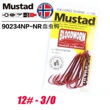 Mustad Norway Origin Fishing Hook EX-Long Shank Bloodworm High-intensity Gear Supplies,90234NP-NR