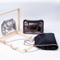 Новые модные женские туфли взрыв трещина кожа ПВХ цепи мешок небольшой серый квадрат Для женщин сумка Сумки для вечерние Вечерние сумки