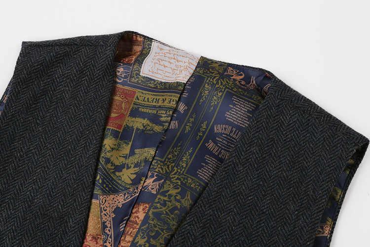 Mannen casual mouwloze jas jas heren formele vesten jurk pak vest slanke Drie knop Wollen vest Britse pak vest M87