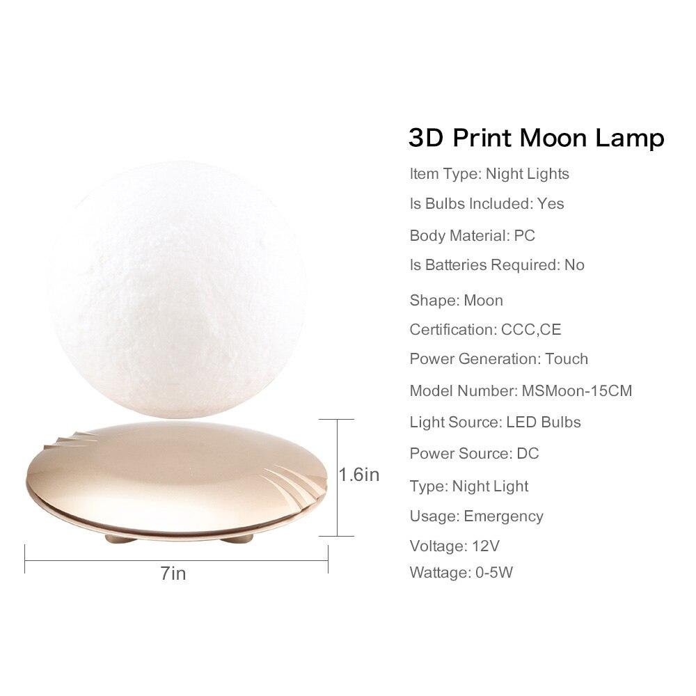 3D принт луна лампа Левитация 7 цветов Изменение светодиодный ночник для украшения для дома на Рождество Прямая доставка # - 3