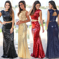 Vestido De Gala 2019 Spring and Summer New Women's Sexy Two Piece Sequined Mermaid Dress Luxury Long Prom Gown Party Dress