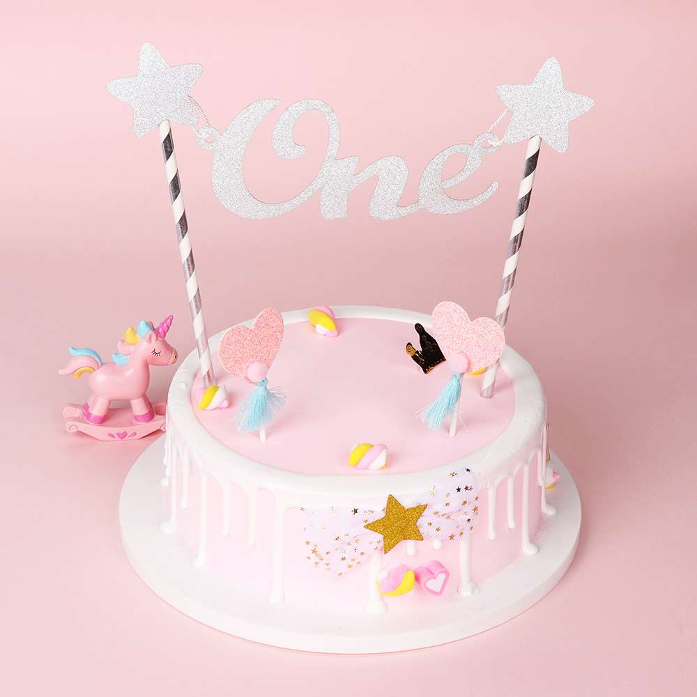 Baby 1st Happy Birthday Cake Topper Letter One Glitter Star Toppers Straws Bunting Banner Party DIY Crafts Decor In Decorating Supplies From
