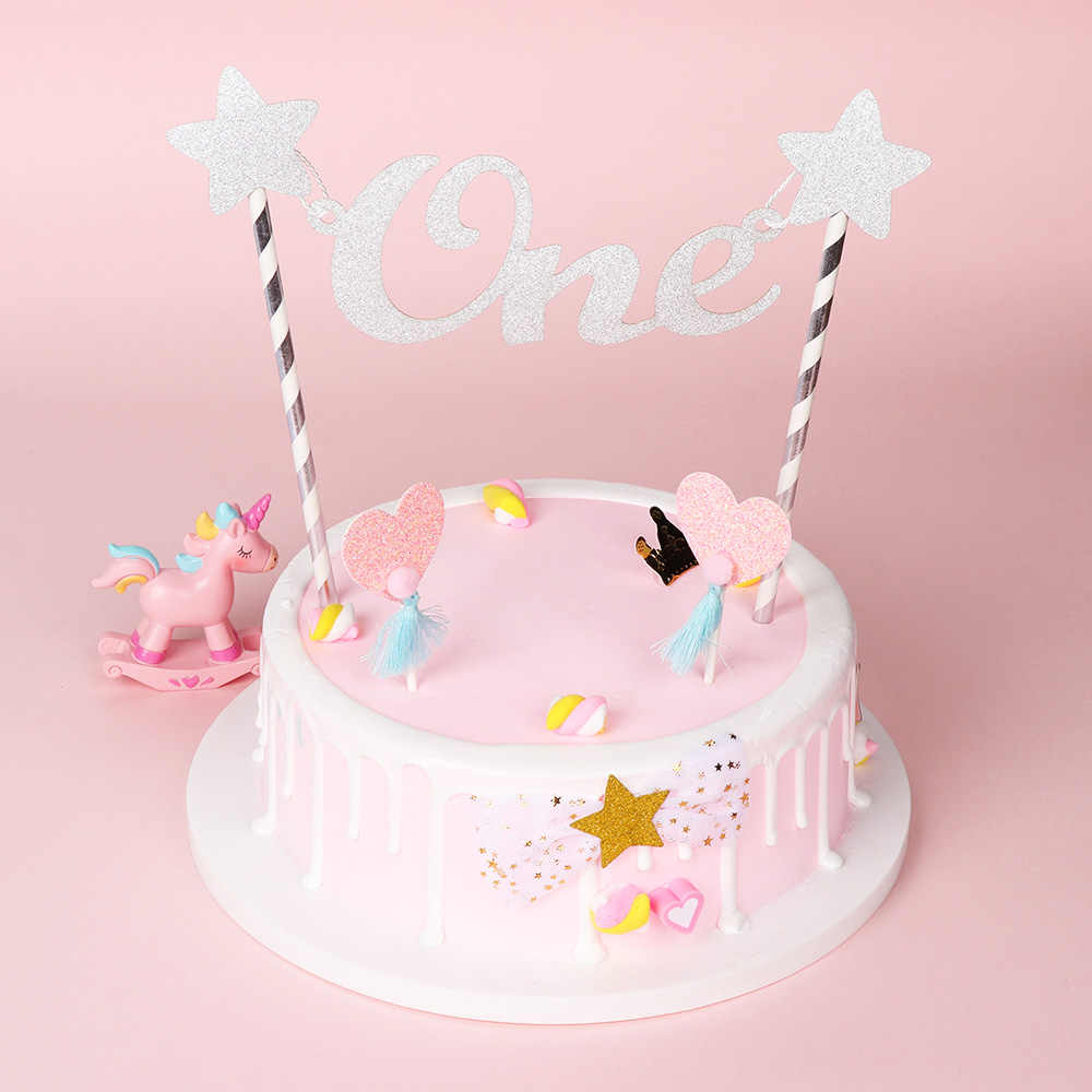 Awe Inspiring Baby 1St Happy Birthday Cake Topper Letter One Glitter Star Cake Personalised Birthday Cards Veneteletsinfo