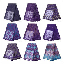 Purple French Lace Fabric Flowers Embroidered African Tulle With Stones For Wedding