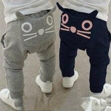 Детская одежда на весну и осень, штаны-шаровары для мальчиков и девочек, хлопковые брюки с совой, модная детская одежда