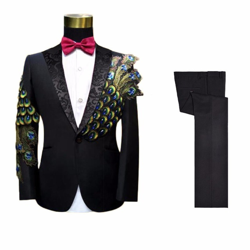 Custom Made Peacock Pattern Black Men Suit 2 Pieces(Jacket+Pants+Tie) Terno Masculino Best Wedding Men's Suit Custom Blazer