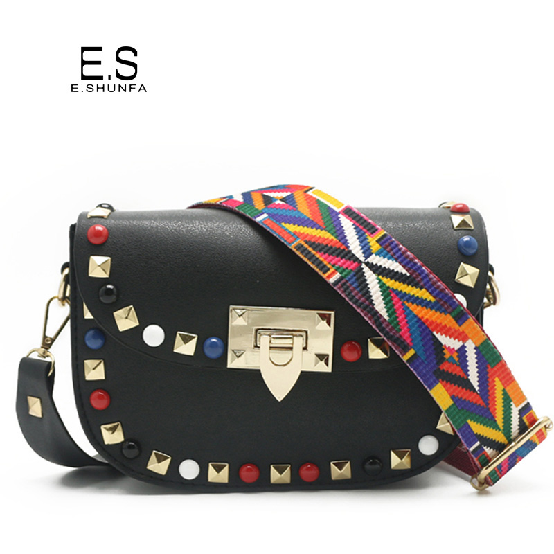 Casual Crossbody Bags For Women 2018 Fashion PU Leather Small Shoulder Bag Flap Rivet Patch Saddle Messenger Womens Bag Mini 2017 fashion women pu leather candy handbags small rivet messenger bag female crossbody shoulder bags mini jelly bag for gils