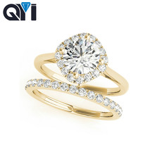 QYI Women's 10K Solid Yellow Gold Ring Sets Round Cut 1 ct S