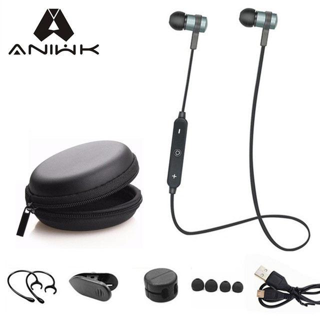 Aniwk الرياضة تشغيل سماعة بلوتوث لاسلكية سماعات أذن سماعة مع مايكروفون ستيريو سماعات بلوتوث لجميع الهواتف