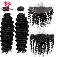 Beauhair Brazilian Natural Color Deep Wave Hair 2 Bundles With 13*4 Lace Frontal Ear To Ear Closure Non Remy hair extension
