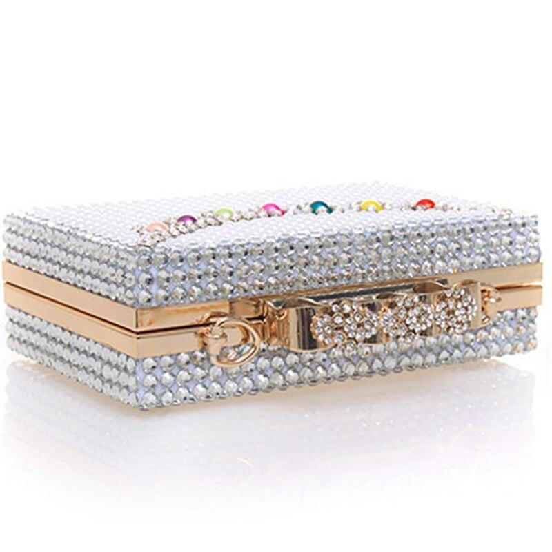 Dames Mariée Petit Cristal Perle Bandoulière White Sac Soirée Main Sacs Bague D'embrayage Bourse De Mariage Luxe À Diamants Femmes Wpq70nFw7
