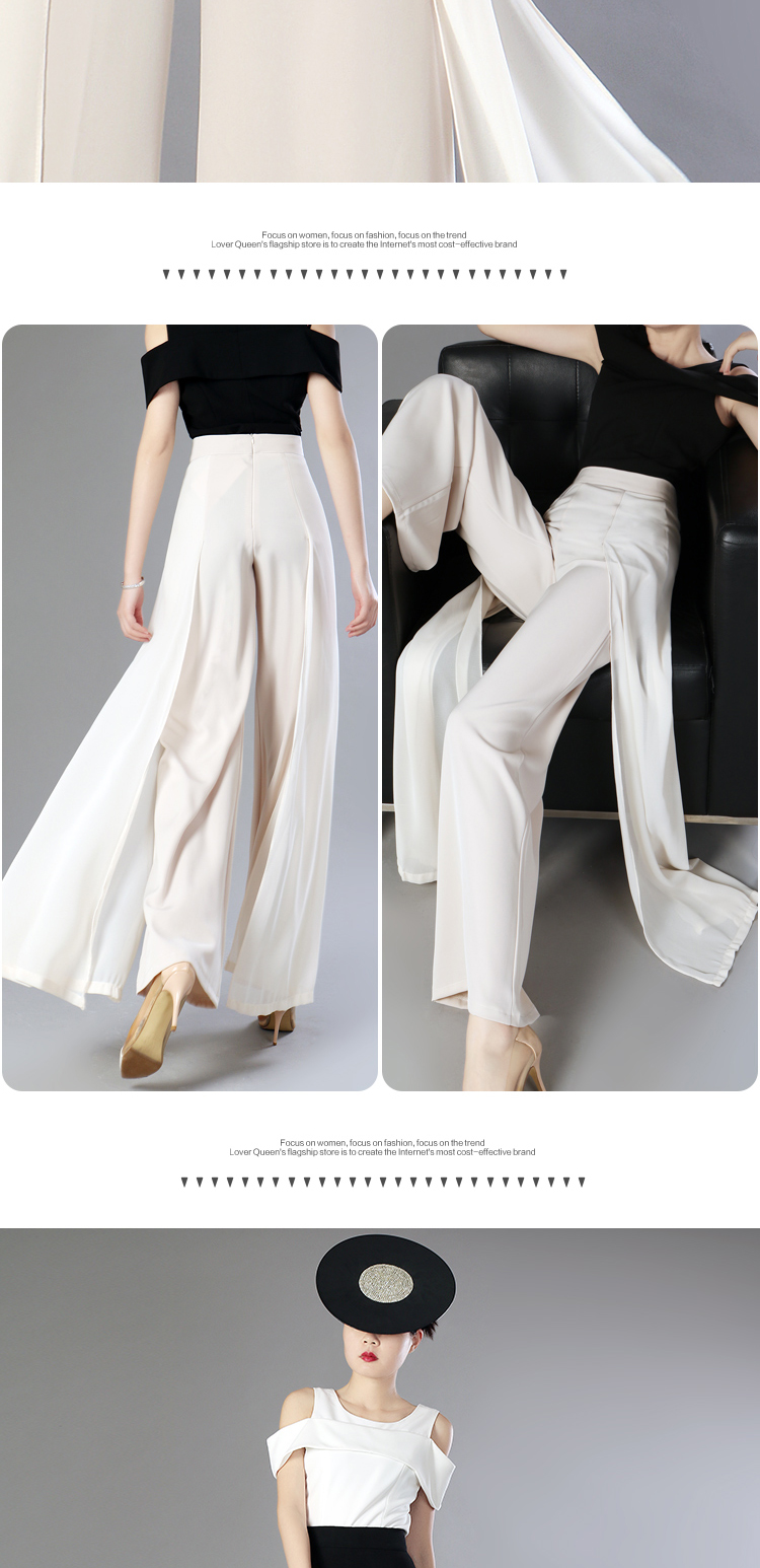 HTB1F2.rMxYaK1RjSZFnq6y80pXaM - Elegant women summer Wide leg pants elastic high waist split chiffon trousers Casual streetwear fashion female palazzo PA003